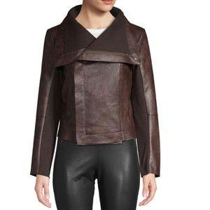 Vigoss Women's Brown Knit Panel Moto Jacket Size S